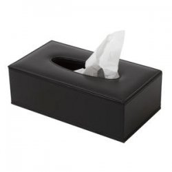 Tissue box rectangular, black leather