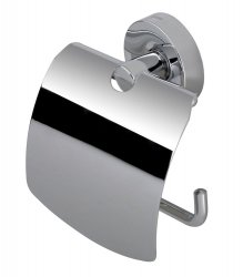 Toilet roll holder with cover in chrome finish